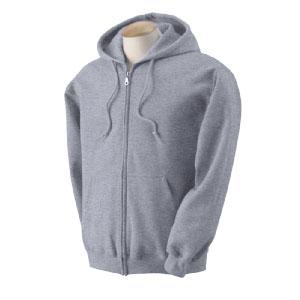 Gildan hosszúhúzózáras kapucnis pulóver - sport grey